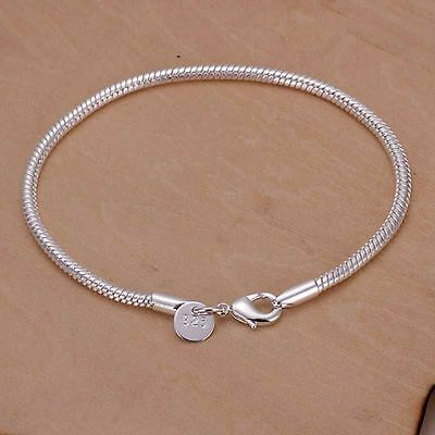 UK - Silver Snake / Rope Simple Chain Bracelet/ Bangle or Anklet Unisex  002