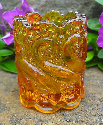 Golden Yellow Amber Glass S-Swirl/Scroll Pattern EAPG Toothpick Holder!