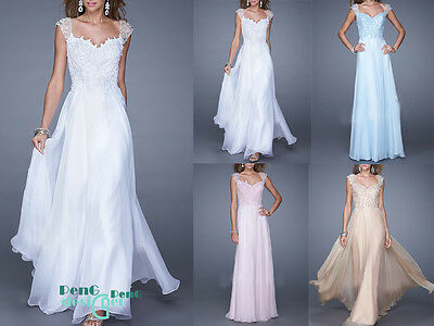 long Chiffon Evening Formal Party Ball Gown Prom Dresses Bridesmaid Dresses 6-16