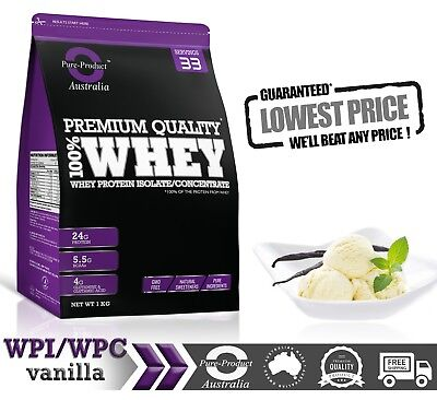 2Kg - Whey Protein Isolate / Concentrate - Vanilla - Wpi Wpc Powder