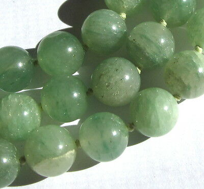 """32"""" Hand-Knotted Necklace Of Stunning Old Green Aventurine Vintage Beads"""