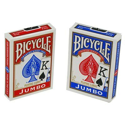 NEW Sealed Package Deck of  BICYCLE  JUMBO  Poker Playing Cards Red or Blue