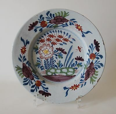 18th century DUTCH DELFT PLATE (POLYCHROME) *GARDEN SCENE WITH INSECT*