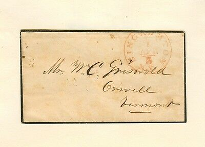 """1840s/51 MOURNING COVER """"BINGHAMPTON N. Y."""" Red internal """"5"""" CDS to Orwell, VT"""
