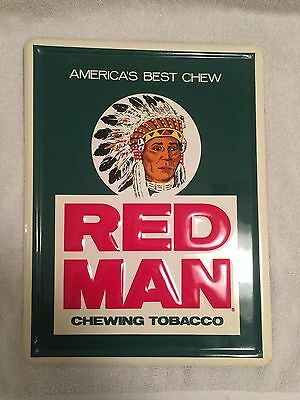 Original Red Man Chewing Tobacco Vintage Sign 12x16