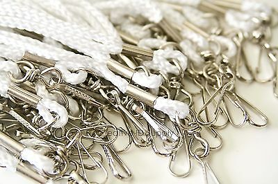 White Rope Round Id Neck Lanyards With Swivel J Hook Free Ship - 100 Pieces