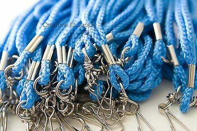 Wholesale 100 Pcs Light Blue Rope Round Id Neck Lanyard Swivel J Hook Heavy Duty
