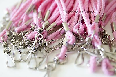 Quantity 100 Pcs Pink Rope Round Id Neck Lanyards With Swivel J Hook Free Ship