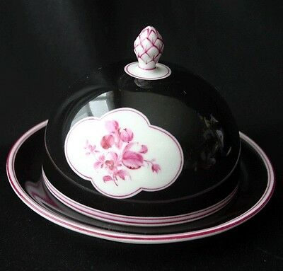NYMPHENBURG Cobalt & Raspberry Floral Trim Covered Dish