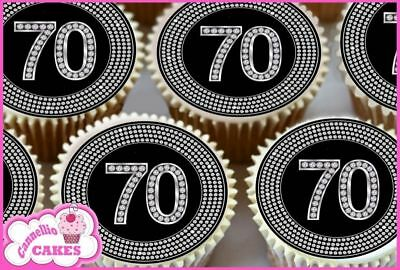 Other Baking Accessories 24 X 40° Happy Compleanno Cuori Nero Topper Per Cupcake Carta Di Riso Edibile Kitchen, Dining & Bar