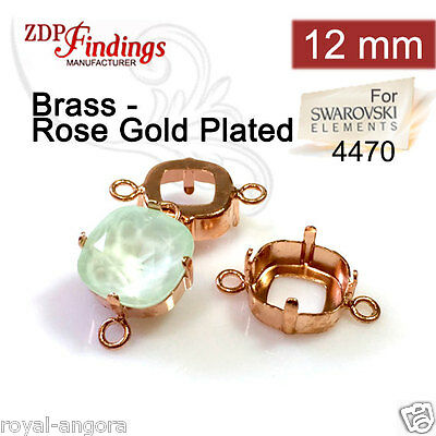 6Pcs x 12mm Square Connector Rose Gold Bezel Cup Setting fit Swarovski 4470