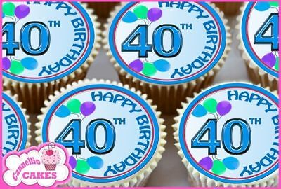 24 x HAPPY BIRTHDAY 40 TOPPERS PARA CUPCAKES AZULES COMESTIBLES TARTA