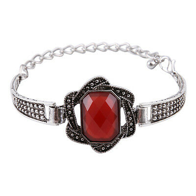 New Classical Natural resin tibet silver chain bangle bracelet H-2082