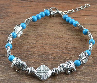 New Classical Natural hot Turquoise cute tibet silver Bracelet H-95
