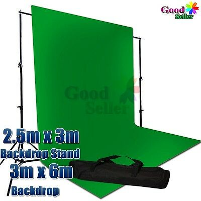 Photography Screen Chromakey Green Muslin Backdrop Background Support Stand Kit