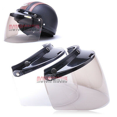 Universal 3 Snap Flip Up Visor Shield Lens for Retro Open Face Motorcycle Helme