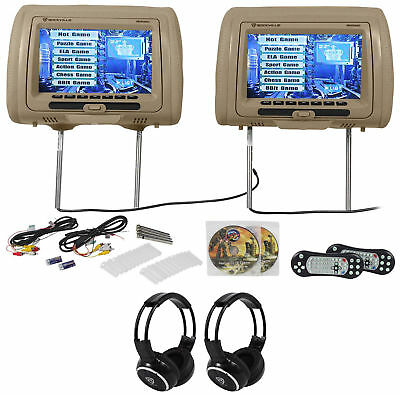 "Rockville RVD951-BG 9"" Beige Dual DVD/HDMI Car Headrest Monitors+2 Headphones"