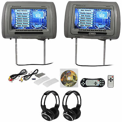 "Rockville RDP931-GR 9"" Grey Car DVD/HDMI Headrest Monitors+2 Wireless Headsets"