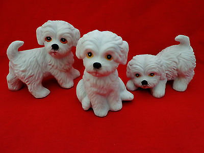 (3) HOMCO Home Interior MALTESE SHIH TZU BICHON FRISE DOG FIGURINES...1411
