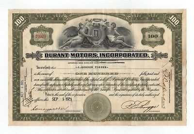 1929 Durant Motors, Incorporated Stock Certificate