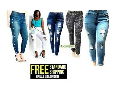 4ecd433f886 NEW jz2 WOMENS PLUS SIZE Stretch Distressed Ripped BLUE SKINNY DENIM JEANS  pants