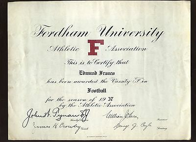 1937 Ed Franco Fordham Football Certificate Signed by Jim Crowley