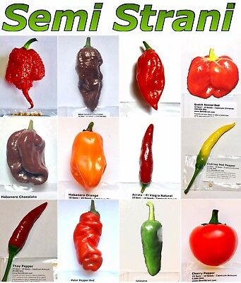 120 Seeds HOT CHILI PEPPER Coll 2: CAROLINA REAPER, NAGA, HABANERO, JALAPENO etc