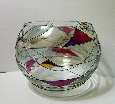 Partylite  Mosaic Tiffiny Glass Votive /Tealight Candle Holder Bowl