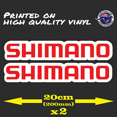 Shimano Red Logo Decal Sticker 2 x 200mmBMX Fishing Reel Bicycle Cycling Sticker