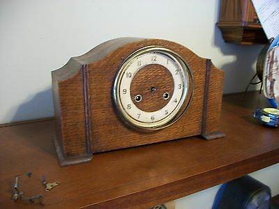 Complete British Made Art Deco Chime Mantel Clock - Non Working