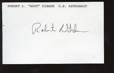 Robert Hoyt Gibson Astronaut  Autographed Index Card Hologram