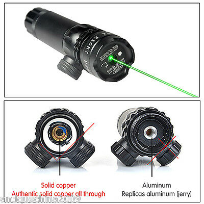 Hunting Powerful Tactical rifle Green Dot Laser Sight Scope Adj Weaver 2 Mounts