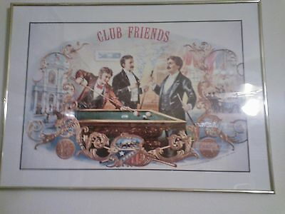 """FRAMED """" CLUB FRIENDS CIGAR LABEL POSTER """" PICTURE"""