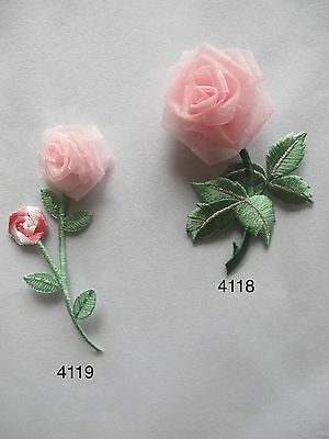 #4118,#4119 3D Pink Rose Flower Embroidery Iron On Applique Patch