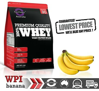 2Kg Whey Protein Isolate Powder  Wpi  100% Grass-Fed Banana