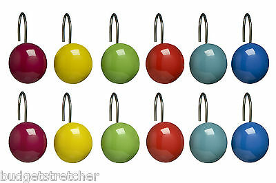 NEW Multi Colour Chrome Shower Curtain Hooks 12 Pieces New Modern Bathroom