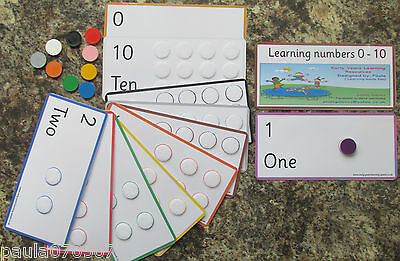 Numbers 0 - 10 flash cards with coloured counters, LARGE size 19.5cm x 9.5cm