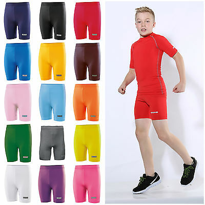 Childrens Boys Girls Sport Base Layer Shorts Cycling Short Performance Kids
