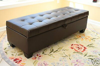 Enjoyable Mission Storage Ottoman Dark Brown Bonded Leather Bench Foot Caraccident5 Cool Chair Designs And Ideas Caraccident5Info