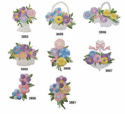 #3853~61 Garden Flower Flowers Embroidery Iron On Applique Patch