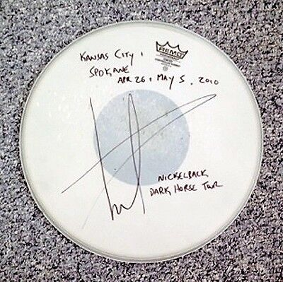 Daniel Adair Signed Concert Used Drumhead One of a Kind Autograph Nickelback