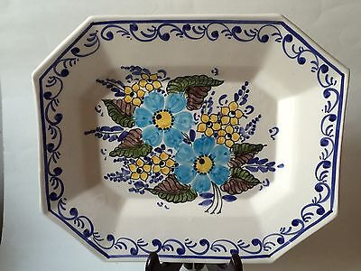 Hand Pained Octagonal Spring Floral Portugese Pottery Platter Made In Portugal