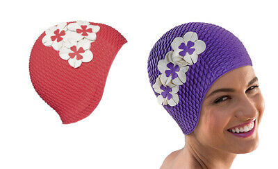 Ladies Vintage Bubble Fashy Swimming Cap With Flowers