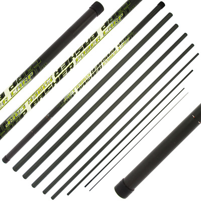Carp Basher - 11m Full Carbon Carp Fishing Pole With Spare Top 3 Sections