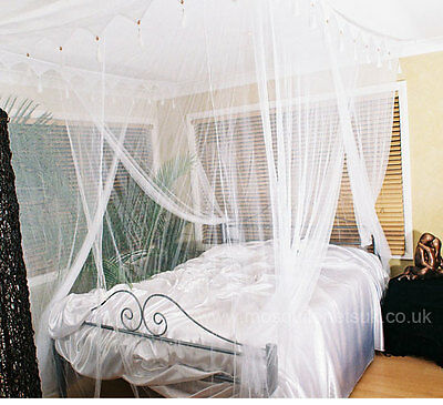 Super King Size Deluxe White Box Mosquito Net Bed Canopy Four Poster Bed Style
