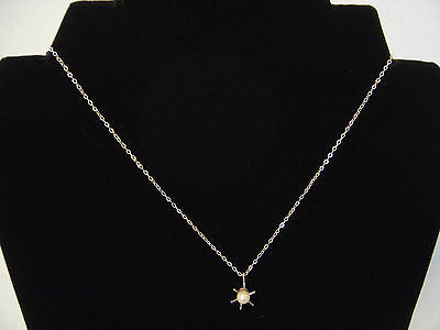 """STERLING SILVER SOLITAIRE SINGLE CULTURED PEARL NECKLACE 16"""" FINE CHAIN"""