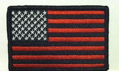 American Flag Iron-On Patch USA Red  Black Military Tactical Emblem Black Border