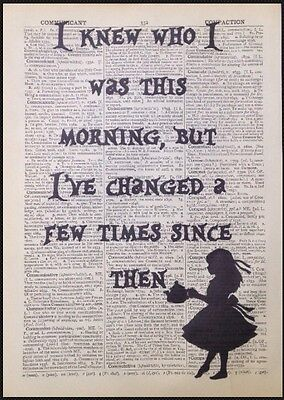 Alice in Wonderland Quote Print Vintage Dictionary Page Picture Wall Art Gift