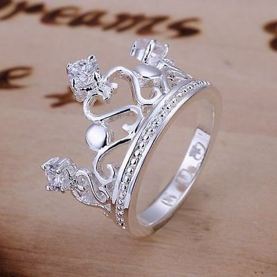 -UK- 925 Silver Crown With Crystals Princess Royal Queen Statement Ring (097)