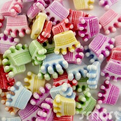 20/100pcs Mixed Colors Plastic Crown Beads 12mm Craft/Kids Jewelry Embellishment